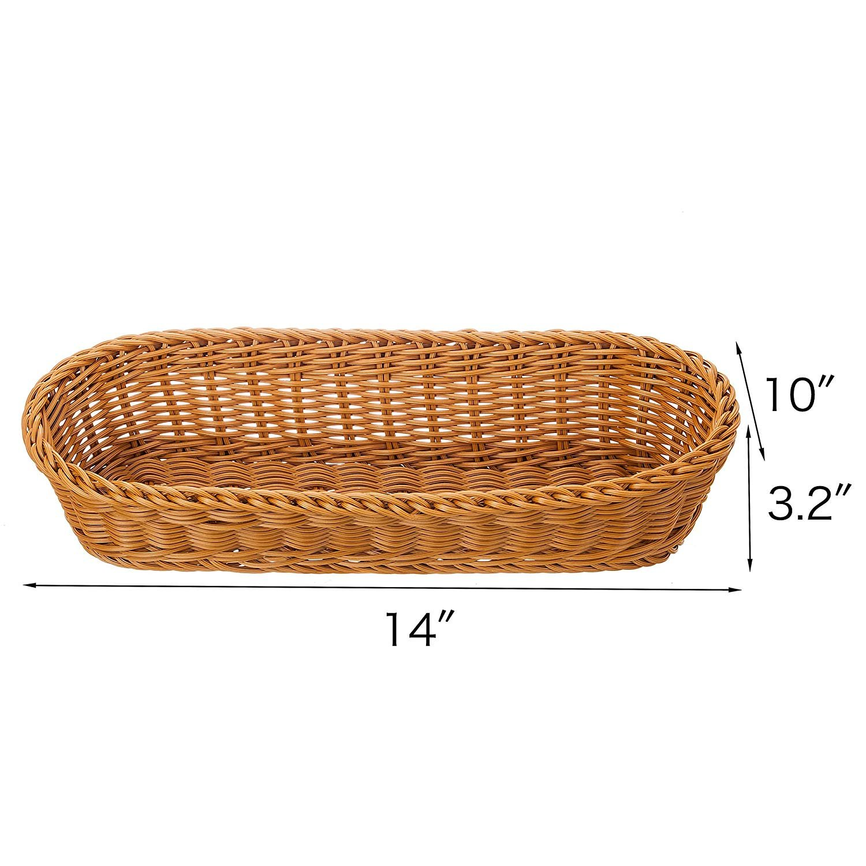2 Set 14.5'' Poly-Wicker Bread Basket, Long Woven Tabletop Food Serving Basket, Honey Brown - Set of 2 by Make it fun (Image #4)