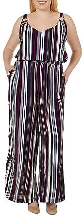 0e1af6f3690 Amazon.com  Derek Heart Juniors Plus Striped Tie Waist Jumpsuit 1X ...