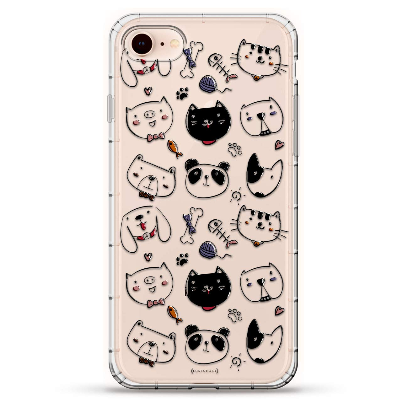 Funny: Cute Animals | Luxendary Air Series Clear Silicone Case with 3D Printed Design and Air-Pocket Cushion Bumper for iPhone 8/7