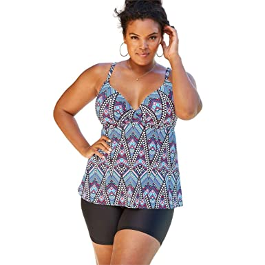 e366be172d370 Image Unavailable. Image not available for. Color: Woman Within Plus Size  Wrap Swim Tankini Top in Bra Sizes ...