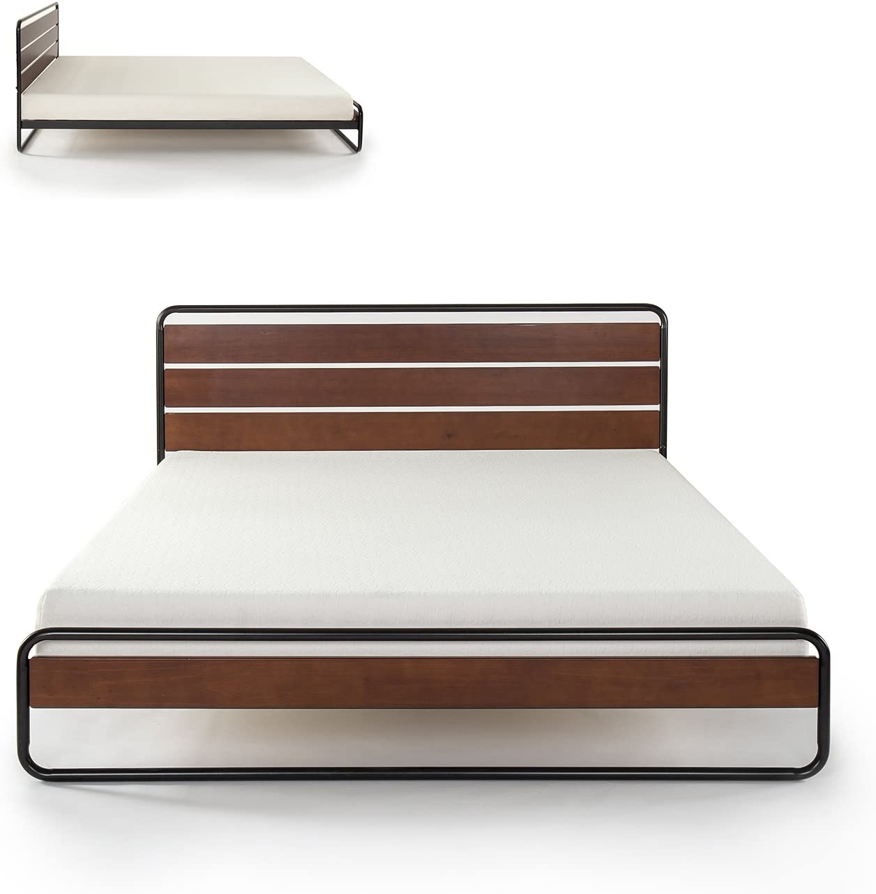 Zinus Therese Metal and Wood Platform Bed with Wood Slat Support, Twin