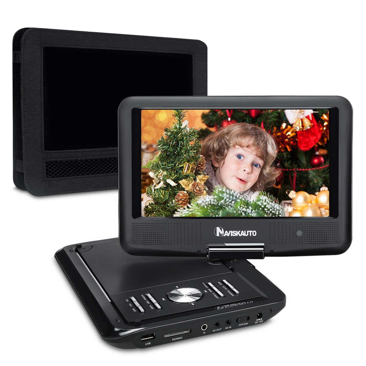 NAVISKAUTO 9 Inch Portable DVD/CD/MP3 Player USB/SD Card Reader with 5 Hour Built-In Rechargeable Battery, 270° Swivel Screen, 3m AC/DC Adapter and Customized Car Headrest Mount Case-Black