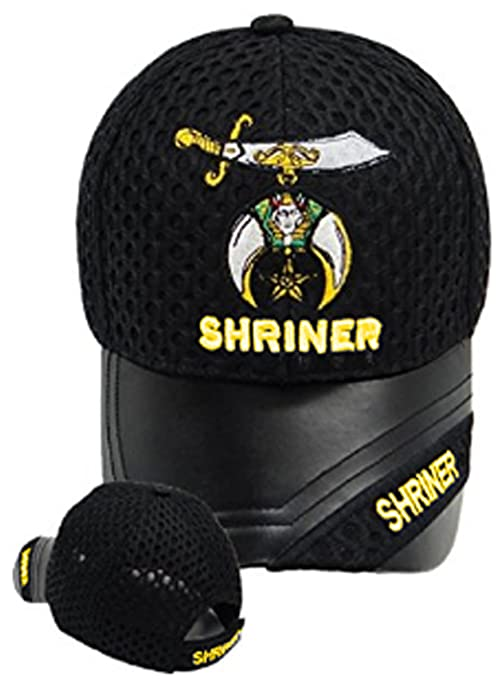 Buy Caps And Hats Shriner Baseball Leather Hat Masonic Mens One Size Black