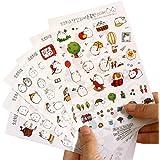 Hosaire 6 Fiches Autocollant Sticker Motif Kawaii Lapin Stickers Adhésif Cartoon Décoration de DIY Calendrier Album Scrapbooking Cadeau idéal pour votre enfant