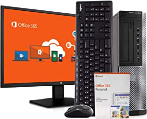 "Dell 7010 Desktop Computer PC, Intel i7, 8GB RAM 500GB HDD, Windows 10 Pro, Microsoft Office 365 Personal, New 23.6"" FHD V7 LED Monitor, New 16GB Flash Drive, Wireless Keyboard & Mouse, WiFi (Renewed)"