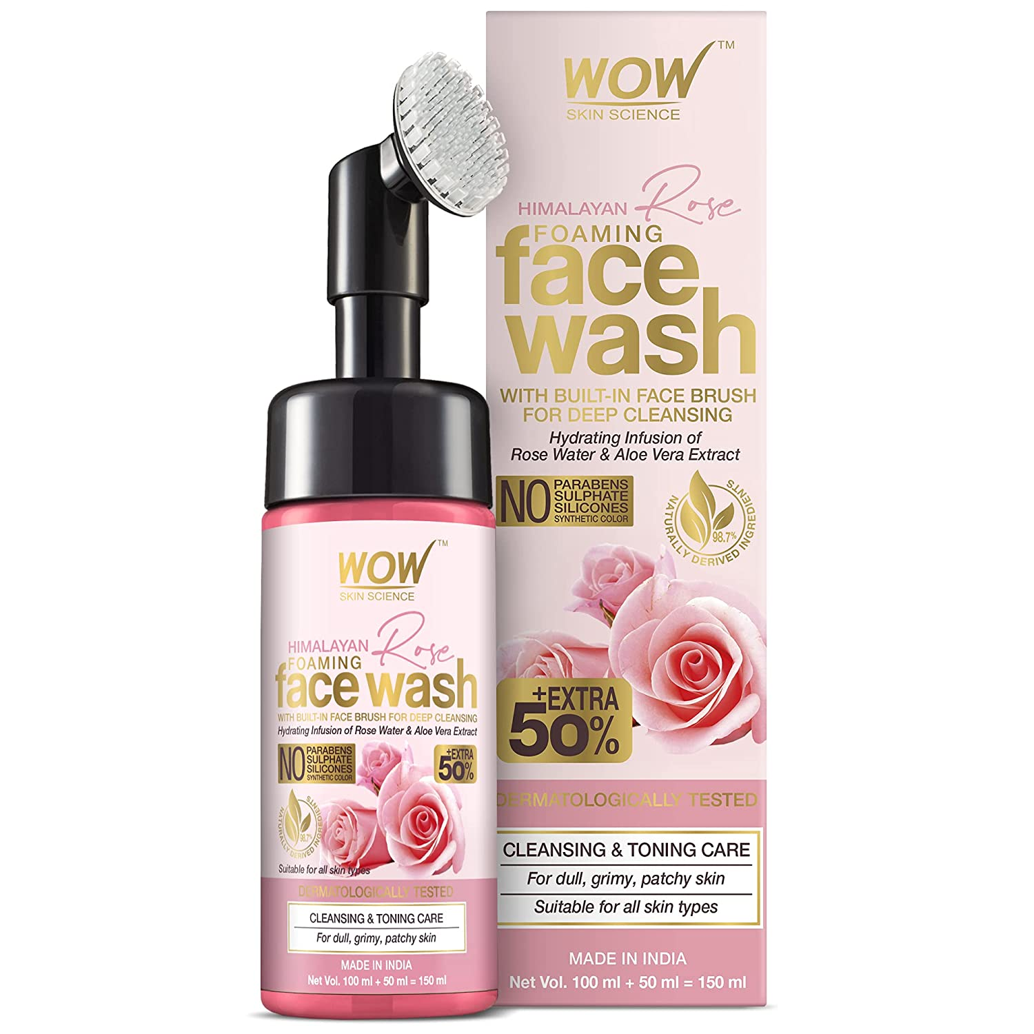 WOW Skin Science Himalayan Rose Foaming Face Wash with Built-in Brush - contains Rose Water & Aloe Vera Extract - for Cleansing & Toning - No Parabens, Sulphate, Silicones & Synthetic Color - 100mL