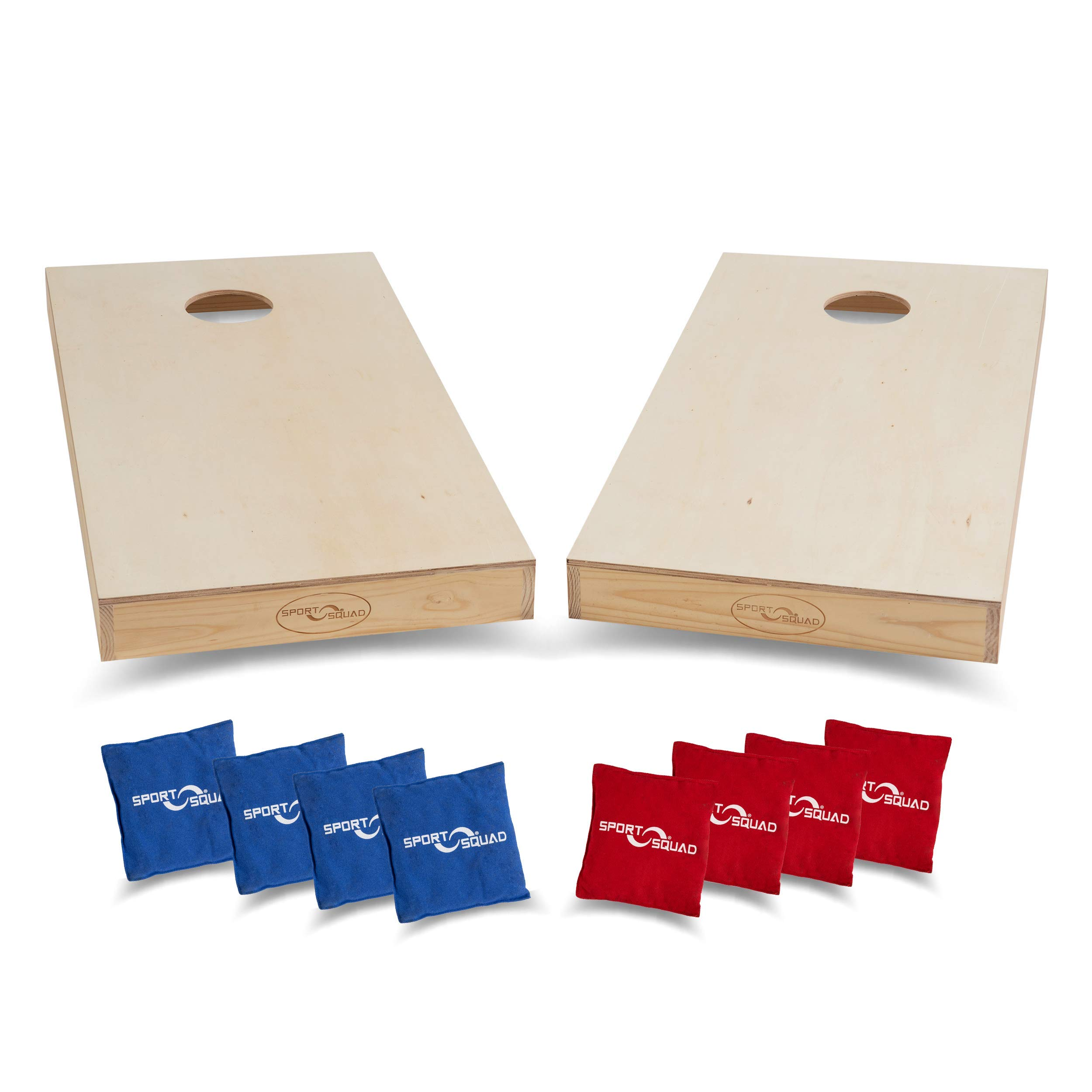 Sport Squad Premium Regulation Cornhole Game - Professional Grade Official Size Solid Wood Cornhole Boards with 8 Durable Portable Bean Bags - 4'x2' DIY Design - Indoor and Outdoor Compatible by Sport Squad