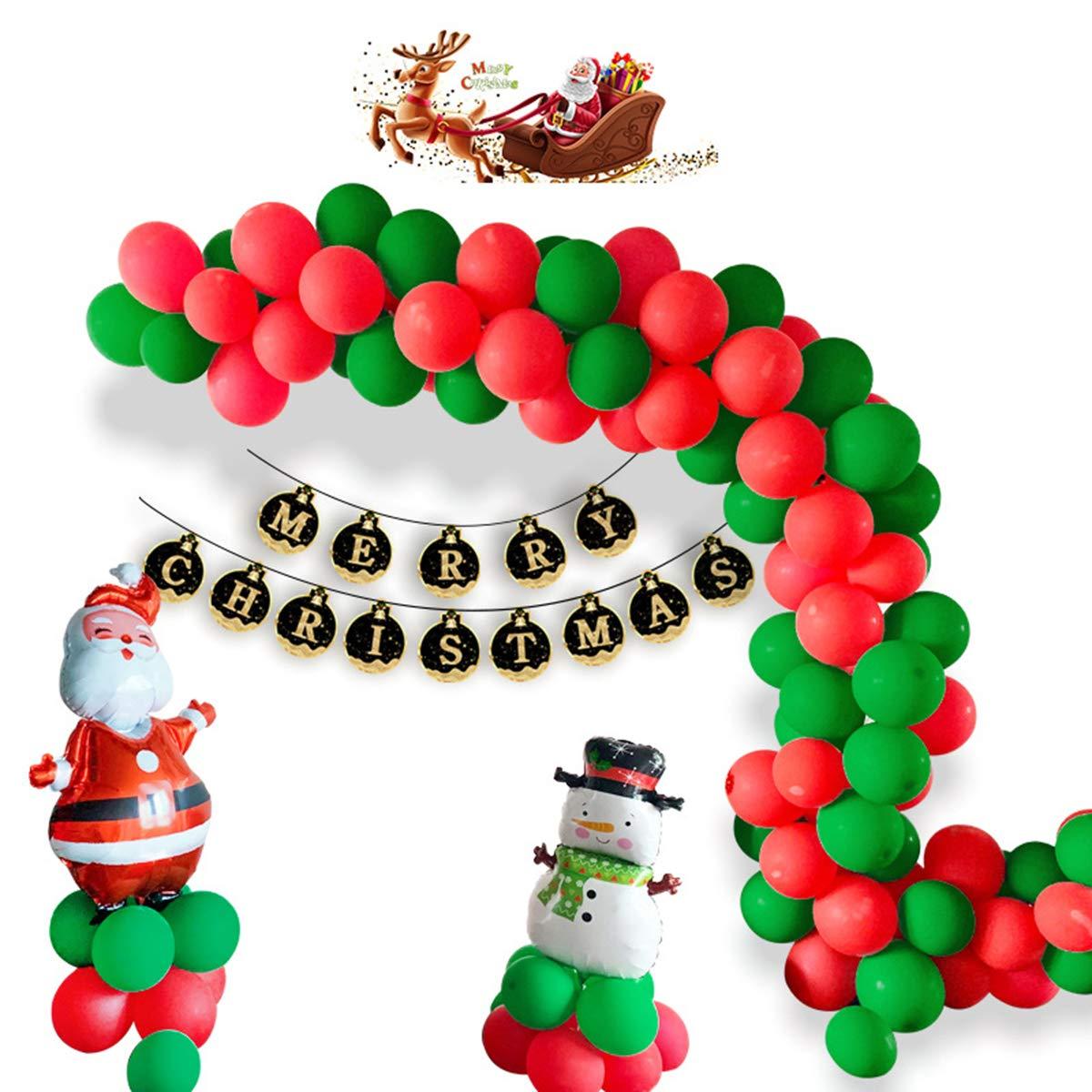 105pcs Yolispa Christmas Party Supplies Balloon Decorations Snowmann /& Santaa Clauss Balloons Merry Christmas Banner Latex Balloons for Home Office Party Favor Decor