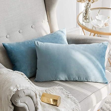 MIULEE Confezione da 2 Federe in Velluto Copricuscini Decorativi Fodere  Quadrate per Cuscino per Divano Camera da Letto Casa Auto 30X50cm Azzurro