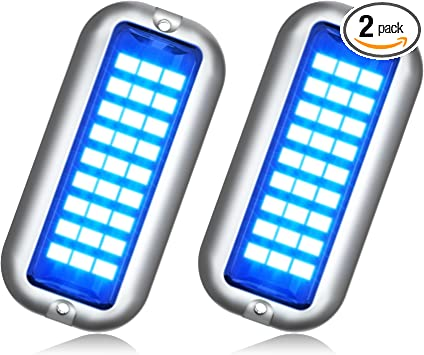BASIKER BS1 Marine LED Boat Light (2x1200LM 27LED), 10-36V, 316 Stainless Steel, IP68, Air or Underwater, Surface Mount Designed for Cruise Ships, Yachts, Boats, Sailboat, Pontoon, Transom (Blue)