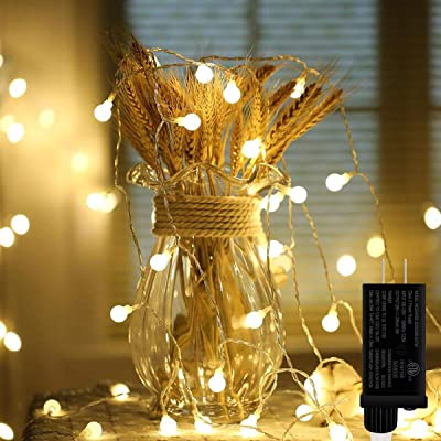 LED String Lights 33ft 100 LED Plug in Globe String Lights 8 Modes Ball Fairy Light Waterproof Twinkle Decorative Lights for Indoor Garden Patio Home Wedding Party Christmas (Warm White) : Garden & Outdoor