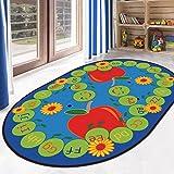 Ustide 5'x7' Alphabet Educational Kids Rug Red Apple Designer Learning Rug Vibrant Oval Kids Children Playroom Rug