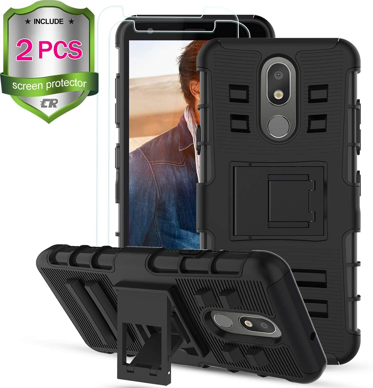 CaseRoo LG Aristo 4 Plus Case,LG K30 2019 CasewScreen Protector[2 Pack],LG Tribute Royal/Journey LTE/Escape Plus/Arena 2/Prime 2 Phone Case,Built-in Kickstand Shockproof Bumper Phone Cover-Black