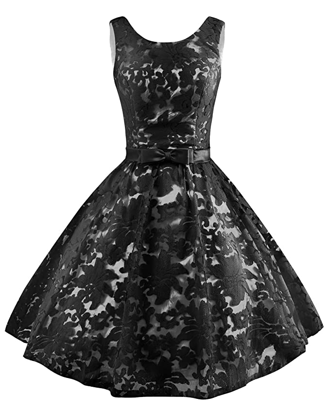 Levory J Women\'s Vintage Floral Lace Contrast Bow Cocktail Evening ...