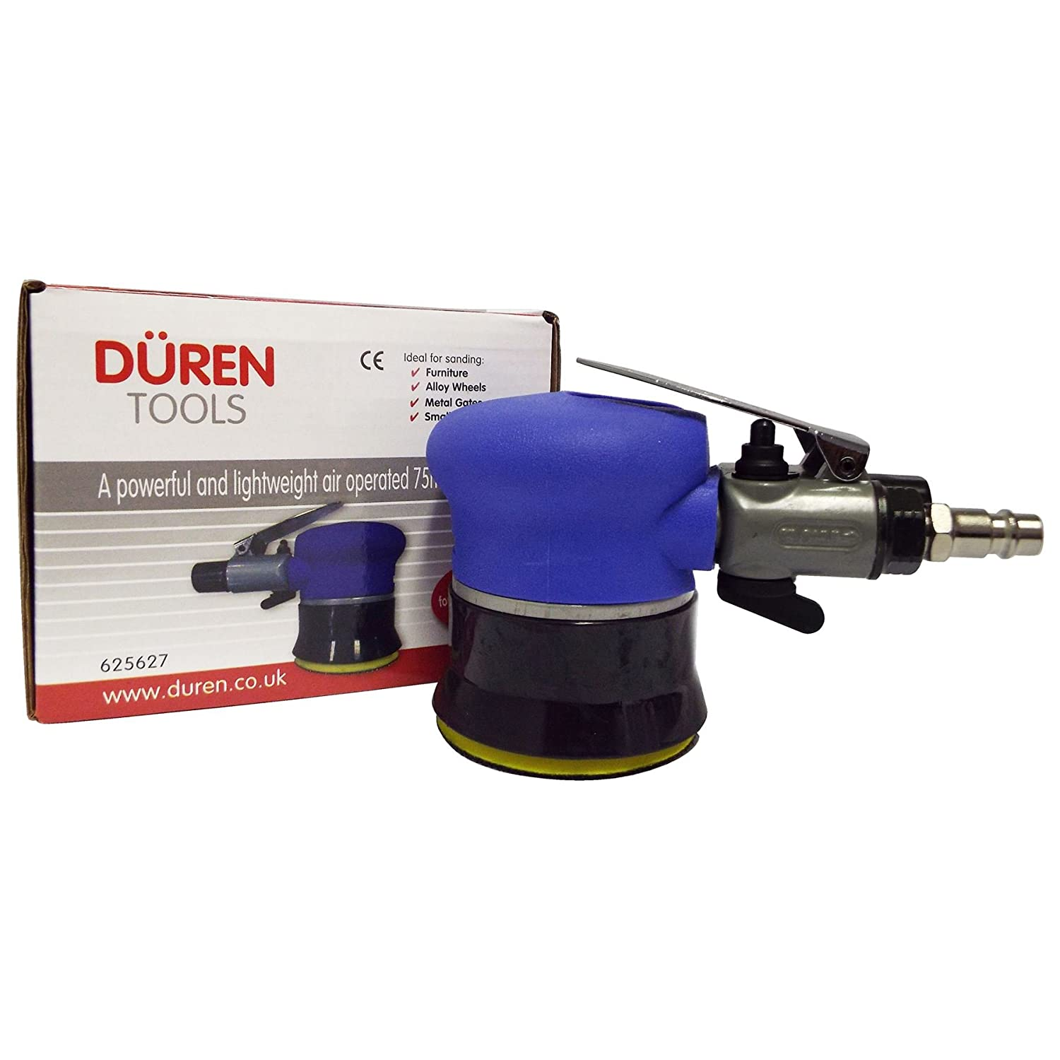 Duren 625627 75mm Mini Palm Air Sander (3') - Car Body and Alloy Wheel Repairs Spot Repair Scratch Remover Mini Polisher Duren Tools