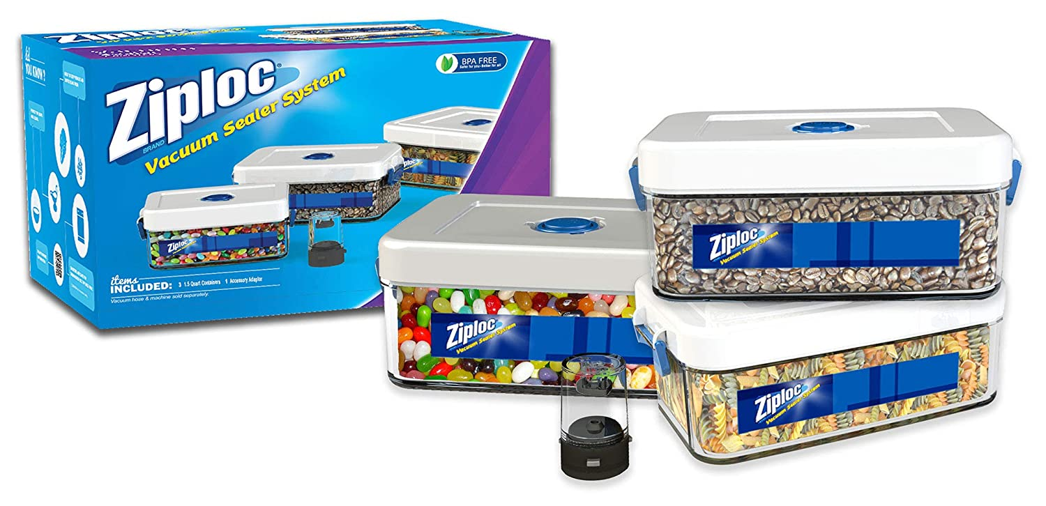 Ziploc ZLCANISTER-3PC Three 1.5-Liter Canister Set with Adapter, 1.5L, White