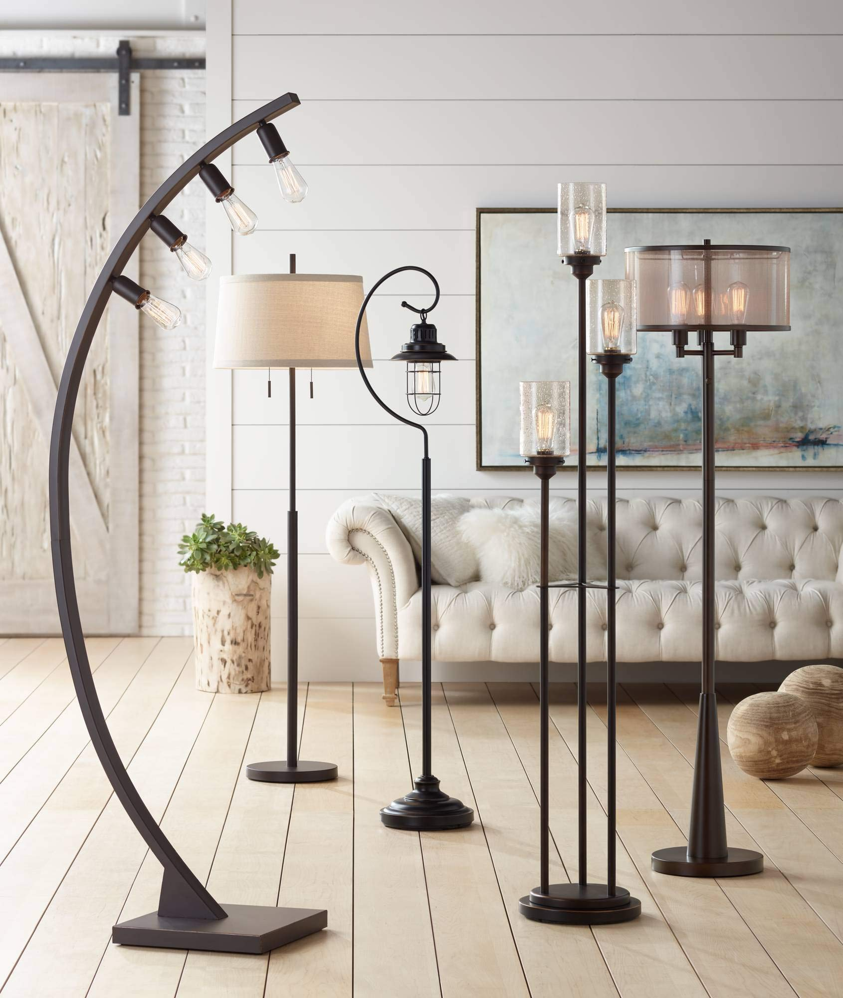 Libby Vintage Floor Lamp 3-Light Oiled Bronze Amber Seedy Glass Dimmable LED Edison Bulb for Living Room Bedroom - Franklin Iron Works by Franklin Iron Works (Image #3)