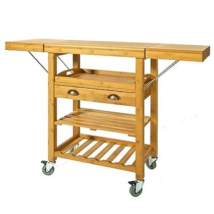 SoBuy Carrito de Server de Bambú, Estantería de Cocina, Mesa de Cocina,FKW25