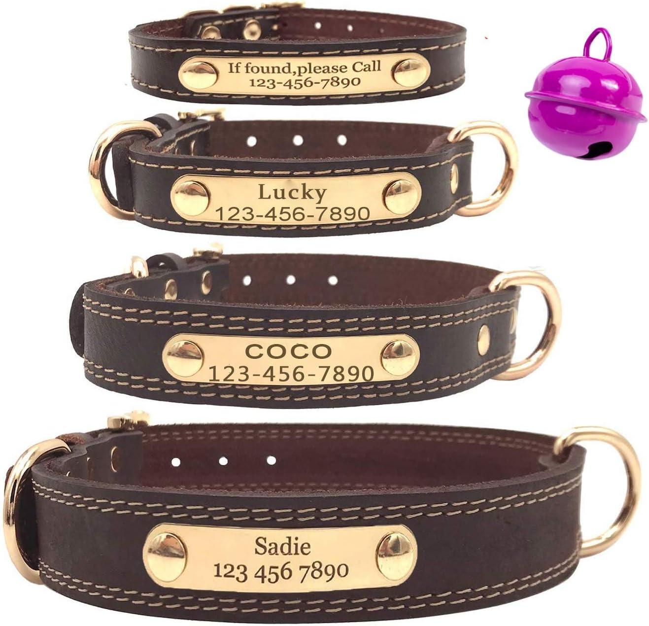 Mihqy Collar de Perro de Cuero Personalizado,Placa de Identificación Grabada con Nombre y número de Teléfono Grabado con láser,Ajustable, Perros pequeños, medianos y Grandes
