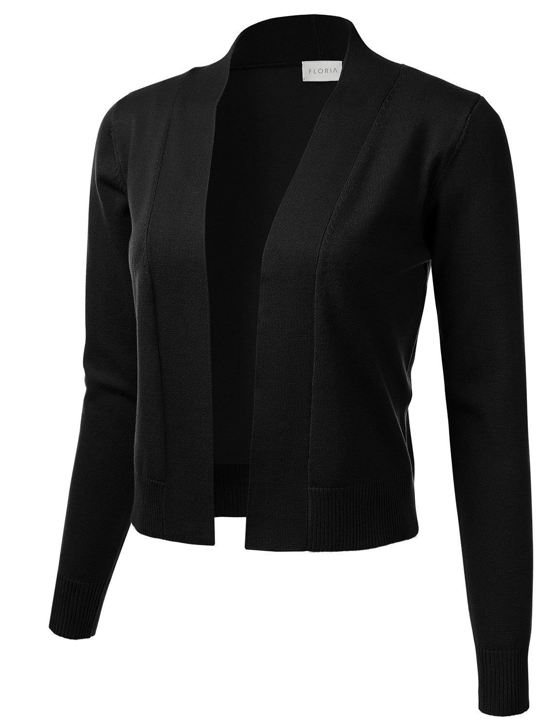 FLORIA Womens Classic Long Sleeve Open Front Cropped Cardigan Black L