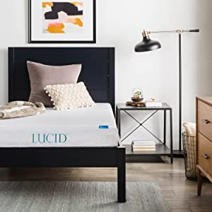 LUCID 6 Inch Memory Foam Mattress - Dual-Layered - CertiPUR-US Certified - Firm Feel - Twin XL Size