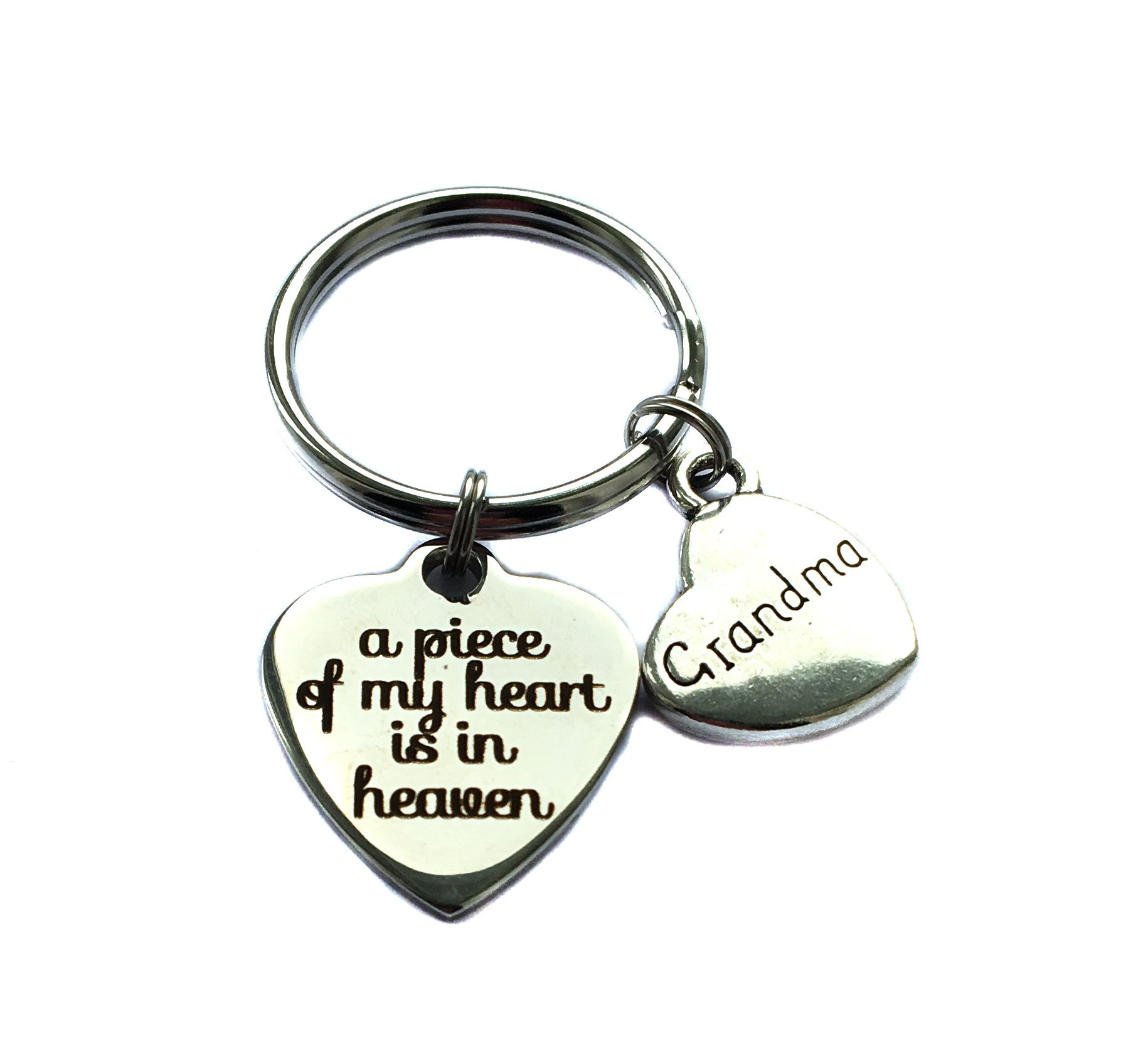 Stainless SteelA Piece Of My Heart Is In Heaven Grandma Heart Charm Memorial Keychain