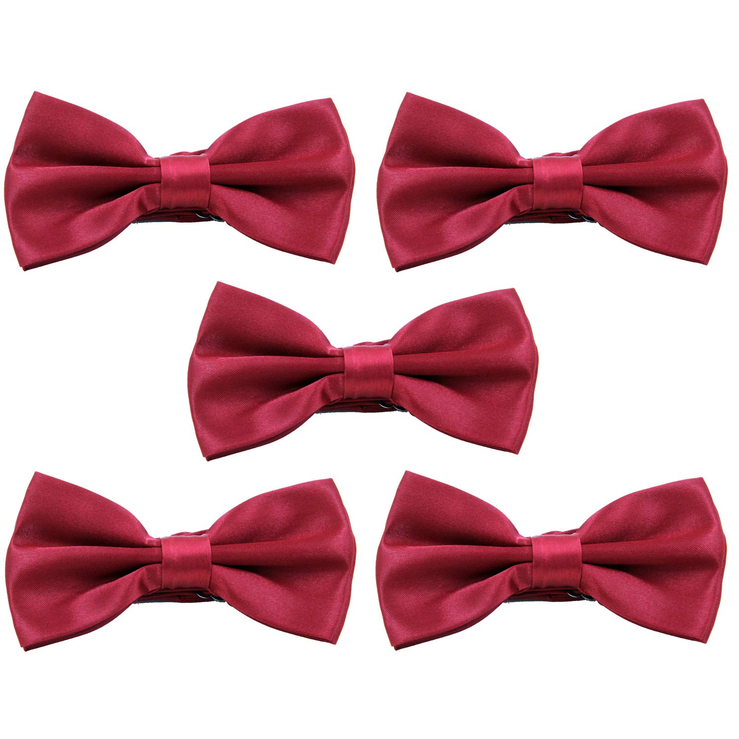 Black BOROLA 5PCS Elegant Pre-tied Adjustable Mens Bow Tie for Men Boys