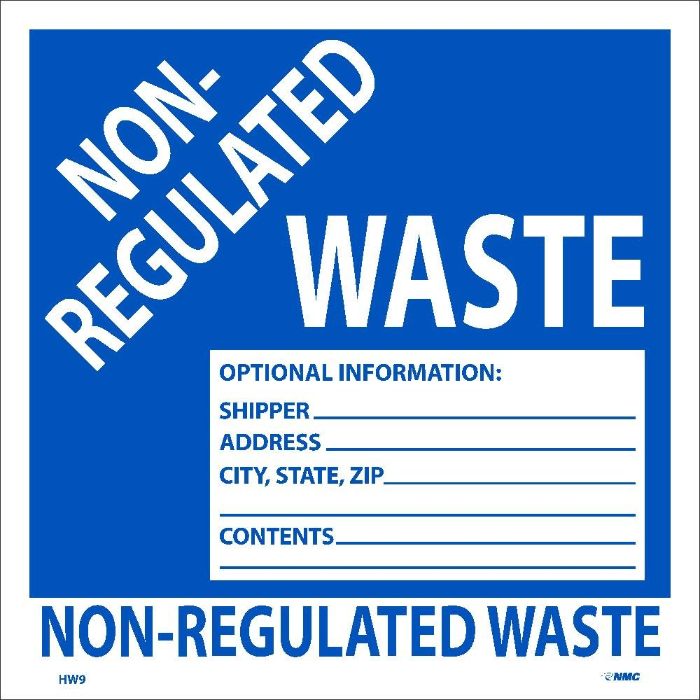 Roll of 500 State NMC HW9AL Non-Regulated Waste Optional Information: Shipper City Zip PS Paper Hazmat Label Address Contents/_ Label -