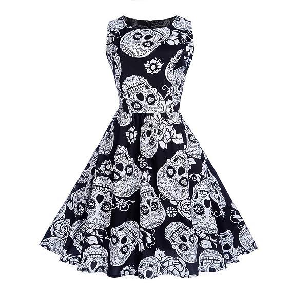 Lenfesh_Vestidos para Mujer Vintage Retro Vestido Corto sin Hombro Cuello V Mujer de Boda Vestido cráneo Mujer S-XXL: Amazon.es: Ropa y accesorios