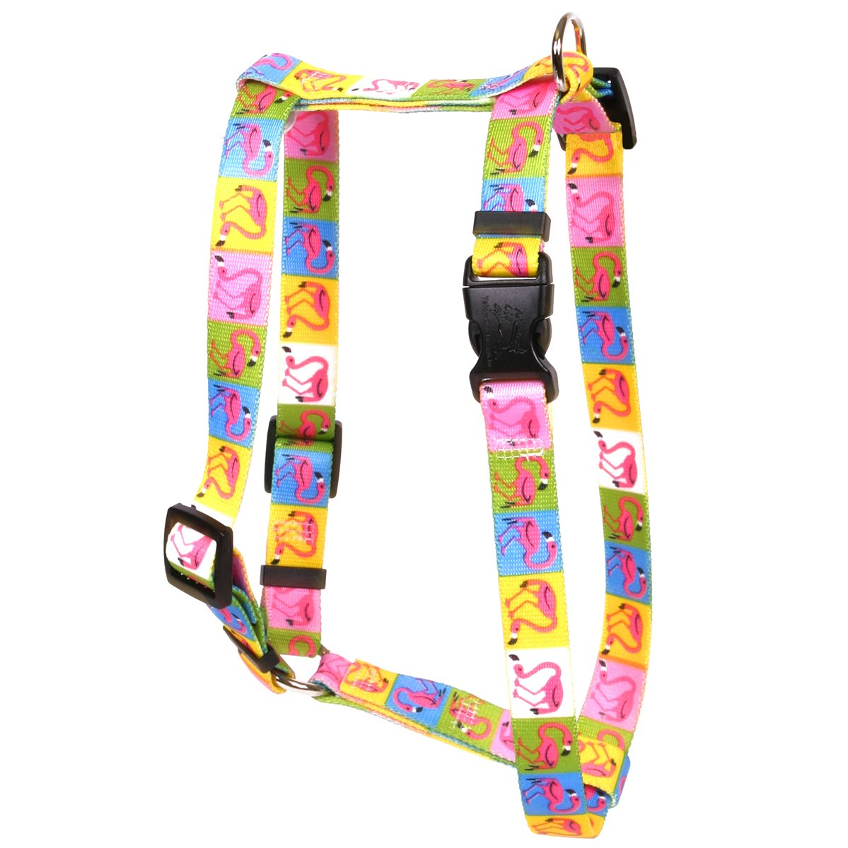 Yellow Dog Design Pink Flamingo Roman Style H Dog Harness, Large-1'' Wide and fits Chest of 20 to 28''