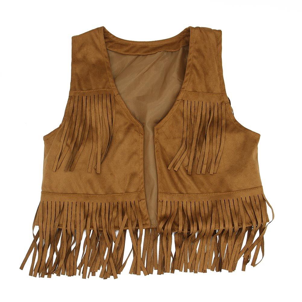 21KIDS Child Girl Tassel Fringed Outerwear Faux Suede Fur Jacket Waistcoat Vest Gilet 42159-S6140