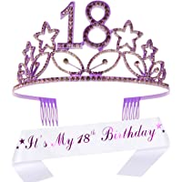 18th Birthday Gifts for Girl, 18th Birthday Tiara and Sash, HAPPY 18th Birthday Party Supplies, It's My 18th Birthday…