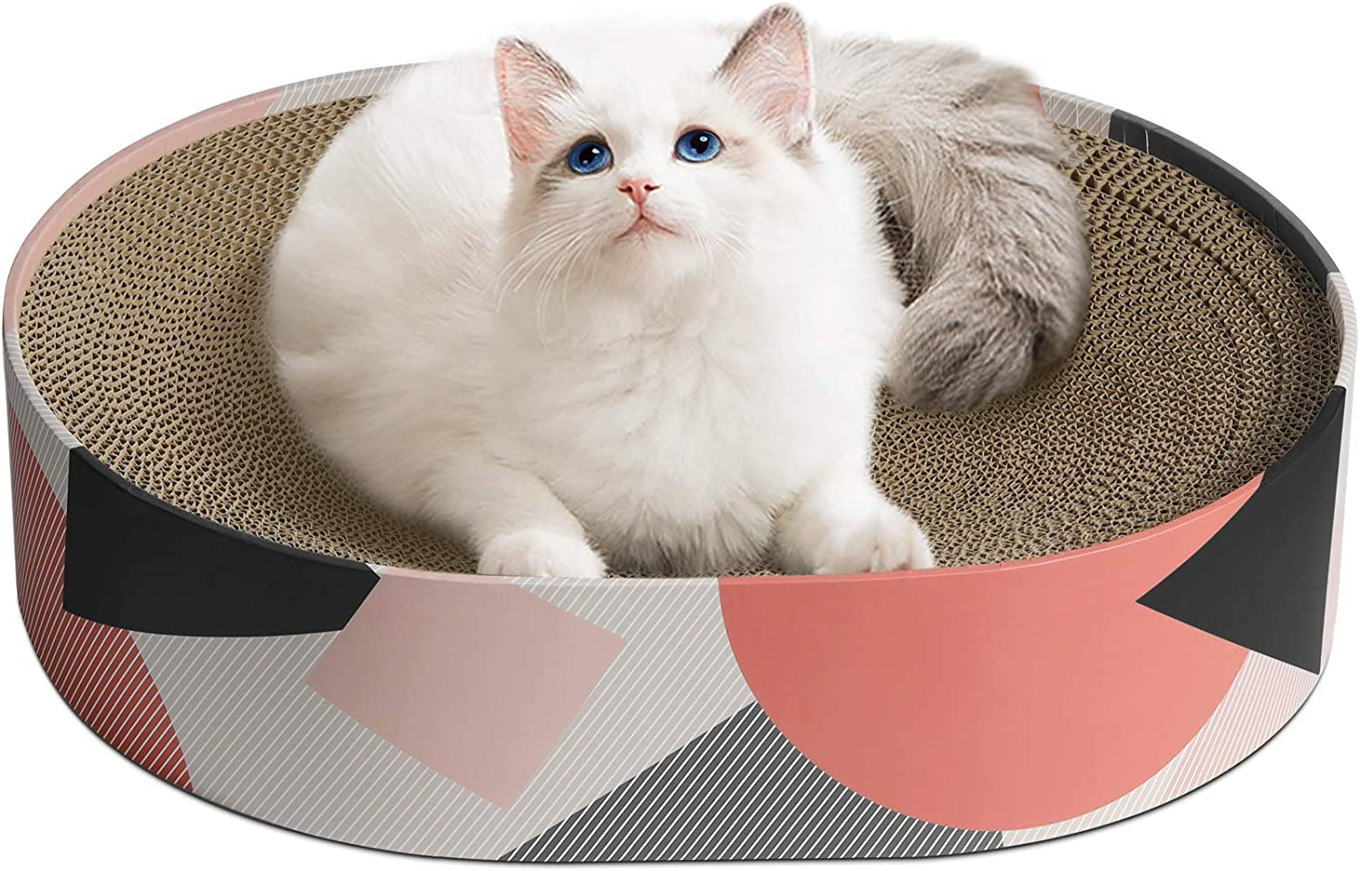ComSaf Cat Scratcher Cardboard, Oval Corrugated Scratch Pad, Cat Scratching Lounge Bed, Durable Recycle Board for Furniture Protection, Cat Scratcher Bowl, Cat Kitty Training Toy