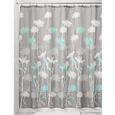 InterDesign Daizy Shower Curtain, Gray and Mint, 72 x 72-Inch