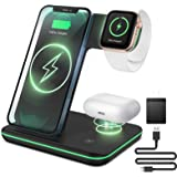 Liwin Wireless Charger, 3 in 1 Qi-Certified 15W Fast Charging Station Compatible with All Apple Watch, AirPods Pro 2, iPhone