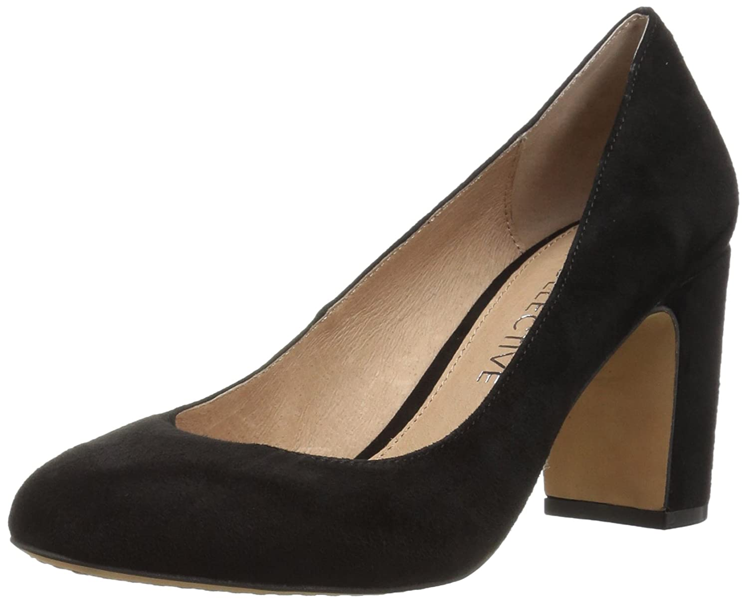 206 Collective Women's Coyle Round Toe Block Heel High Pump B0789529N2 9.5 B(M) US|Black Suede