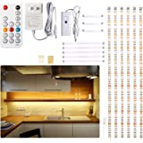 Under Cabinet LED Lighting kit, 6 PCS LED Strip Lights with Remote Control Dimmer and Adapter, Dimmable for Kitchen Cabinet,C