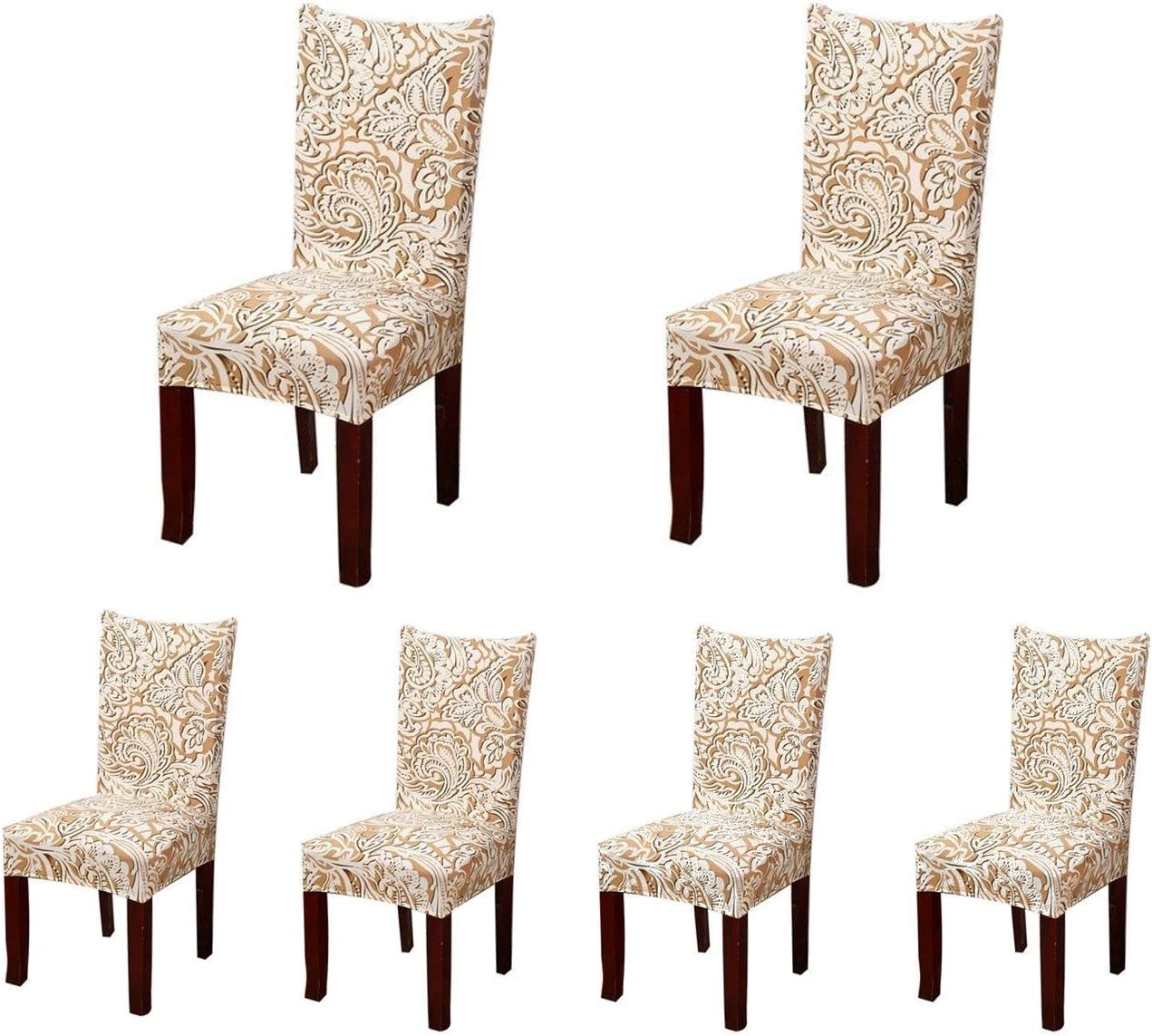 Deisy Dee Dining Chair Cover Protector Removable Washable for Hotel Dining Room Ceremony Chair Slipcovers C101 Beige Rose