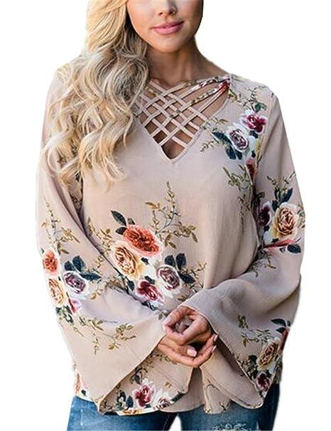 AILIENT Blusa Impreso Flor Mujeres Bonitas Camisas Mangas De Trompeta Casual V Cuello Tops Elegante Moda Camiseta T-Shirt En Gasa: Amazon.es: Ropa y ...