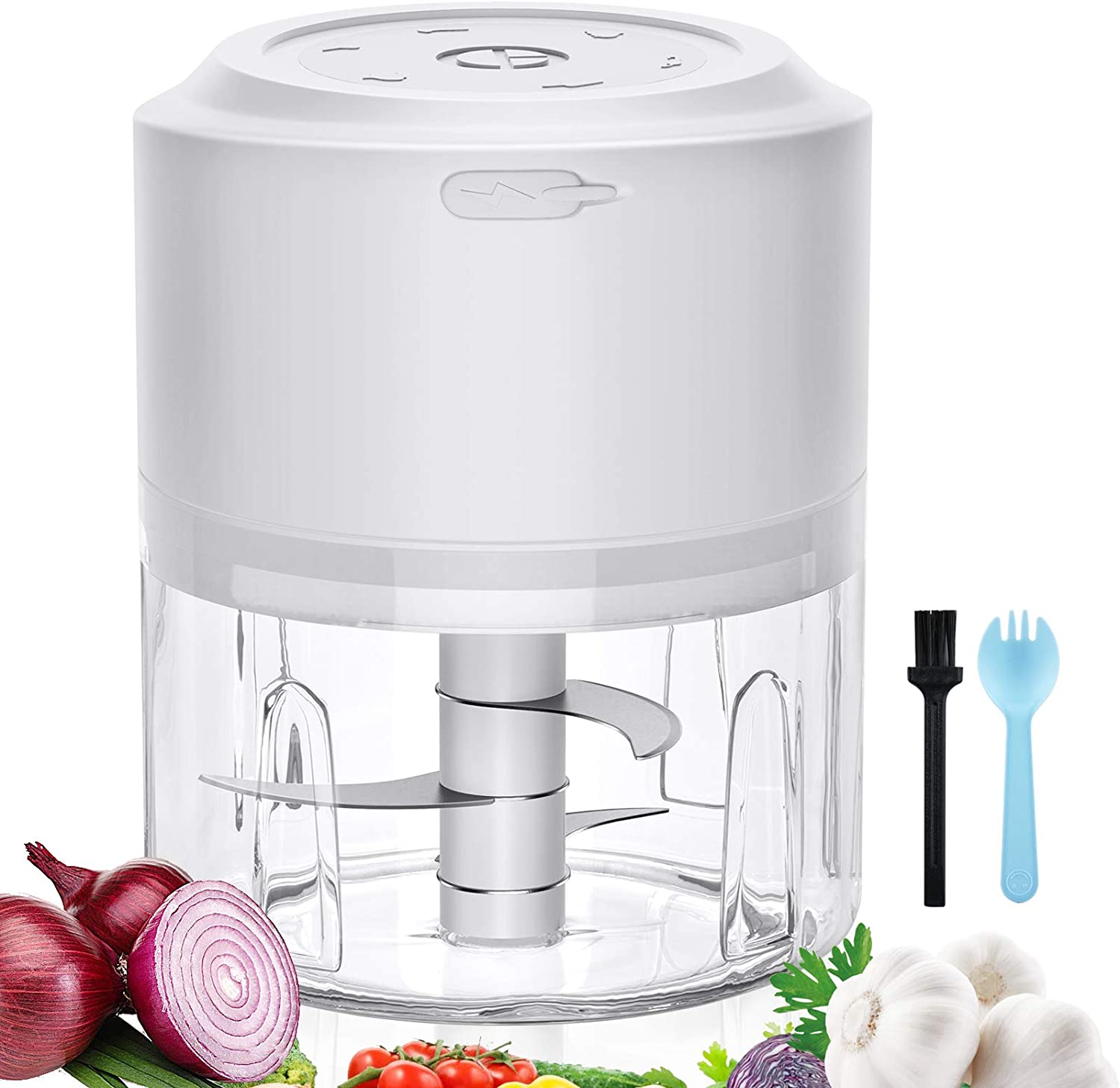 ZEBRE Mini Electric Garlic Chopper Small Food Processor Electric(200ML), Cordless Spice Grinder Chopper Mincer Blender for Garlic Ginger Onion Chili Pumpkin Veggies - White