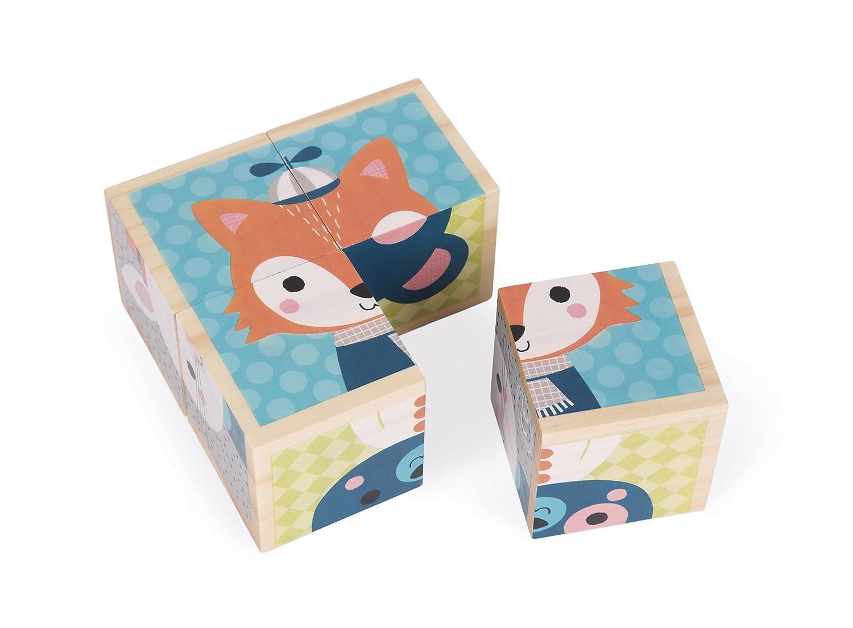 Janod J08002 - Baby Forest vier Würfeln aus Holz, Erste Wörter Erste Wörter Juratoys