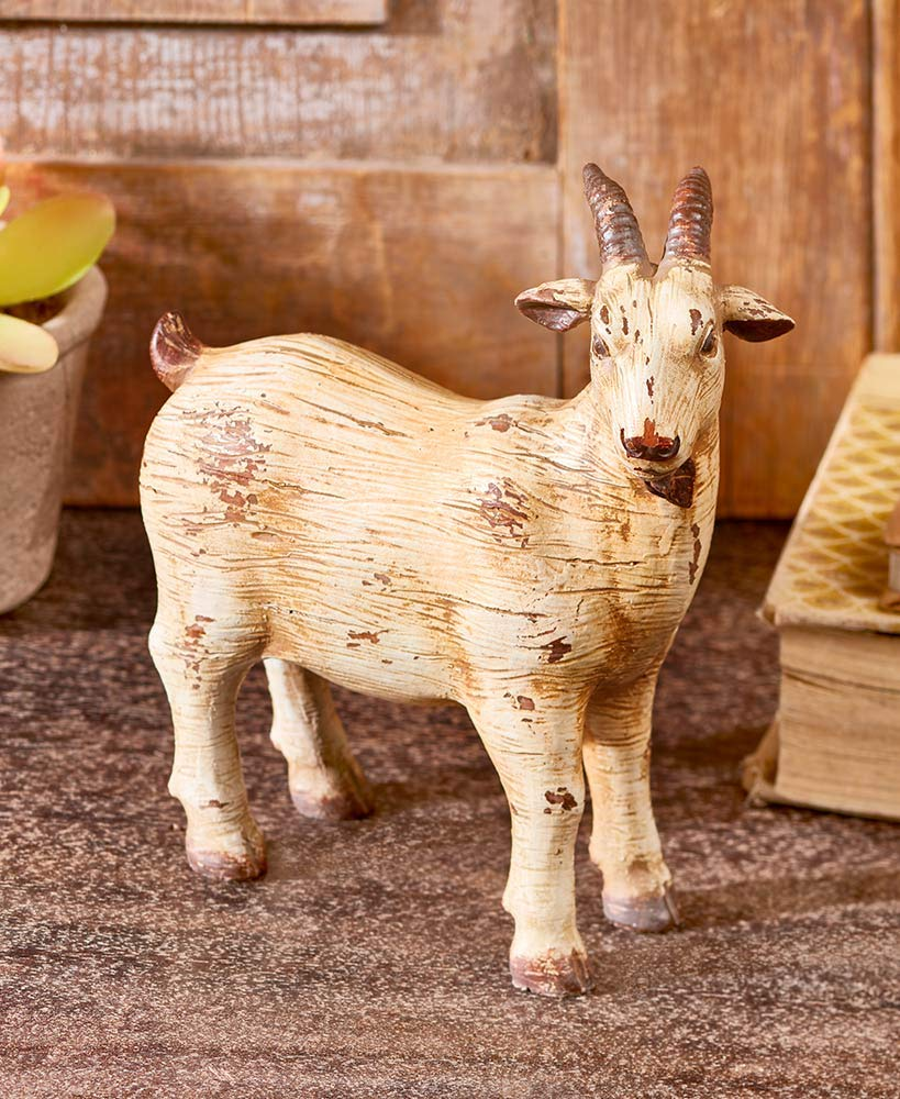 Better Home Space Farmhouse Decor Farm Animals | Animal Figures| Farm Toy |Animal Sculpture and Animal Statues| Cow Sculpture|Sheep Sculpture |Goat Sculpture |Pig Sculpture Rustic Farmhouse (Goat)