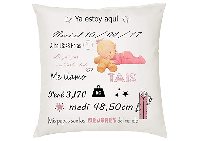 MQP Funda para cojín natalicio con los Datos del Nacimiento ...