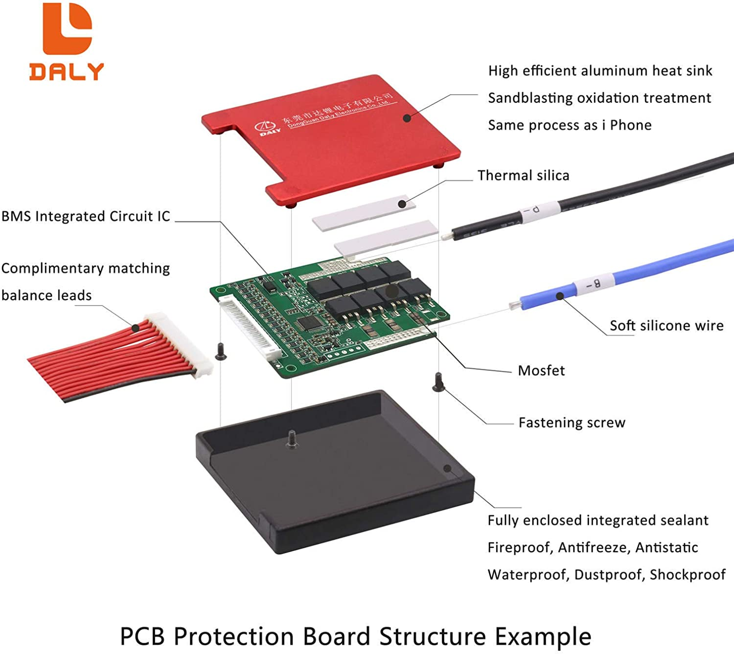 DALY BMS 13S 48V 50A Li-ion Battery Protection Module PCB Protection Board with Balance Leads Wires BMS for 18650 Battery Pack 48V