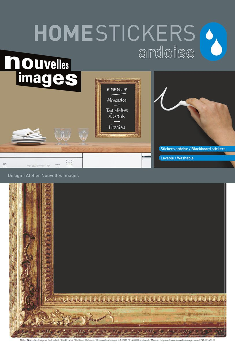 Home Stickers HOSE 1441 Gold Frame Decorative Water Resistant Chalkboard Wall Stickers