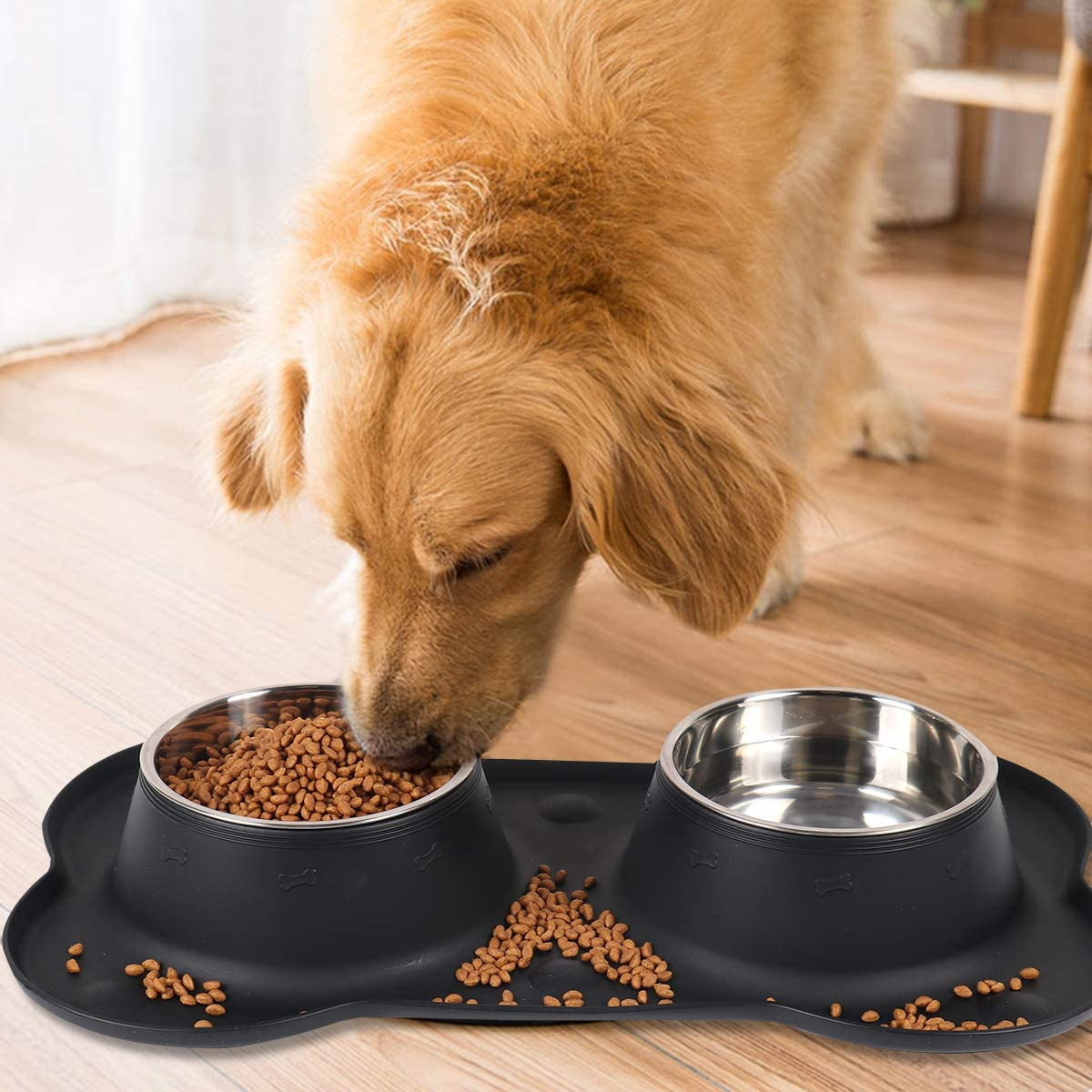 Patimate Stainless Steel Dog Bowl - Pet Bowls Food Water Feeder with Non-Skid No Spill Silicone Mat and Strong Suction Cup for Pets Small Medium Large Dogs