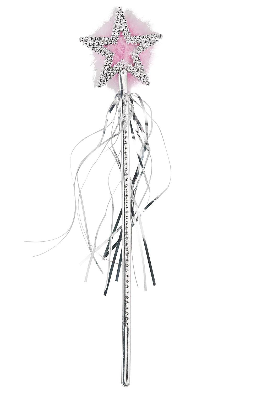 Smiffys 23982 Déguisement Femme Baguette Magique Étoilée, Argenté, Taille Unique Déguisements pour adultes