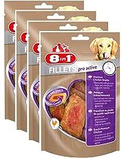 8in1 Fillets Pro Active Hähnchensnack, funktionale Leckerlies für Hunde, 4er Pack (4 x 80 g)