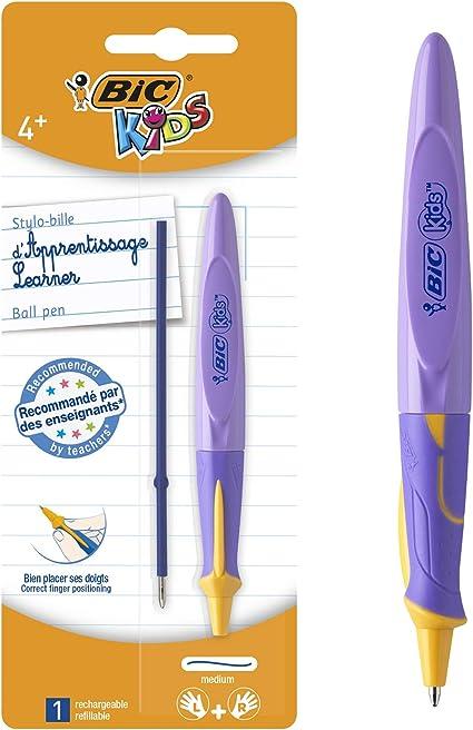 BIC Kids Learner bolígrafos punta media (1,0 mm) - Diseño en colores Surtidos, Blíster de 1 Unidad + Recambio: Amazon.es: Oficina y papelería
