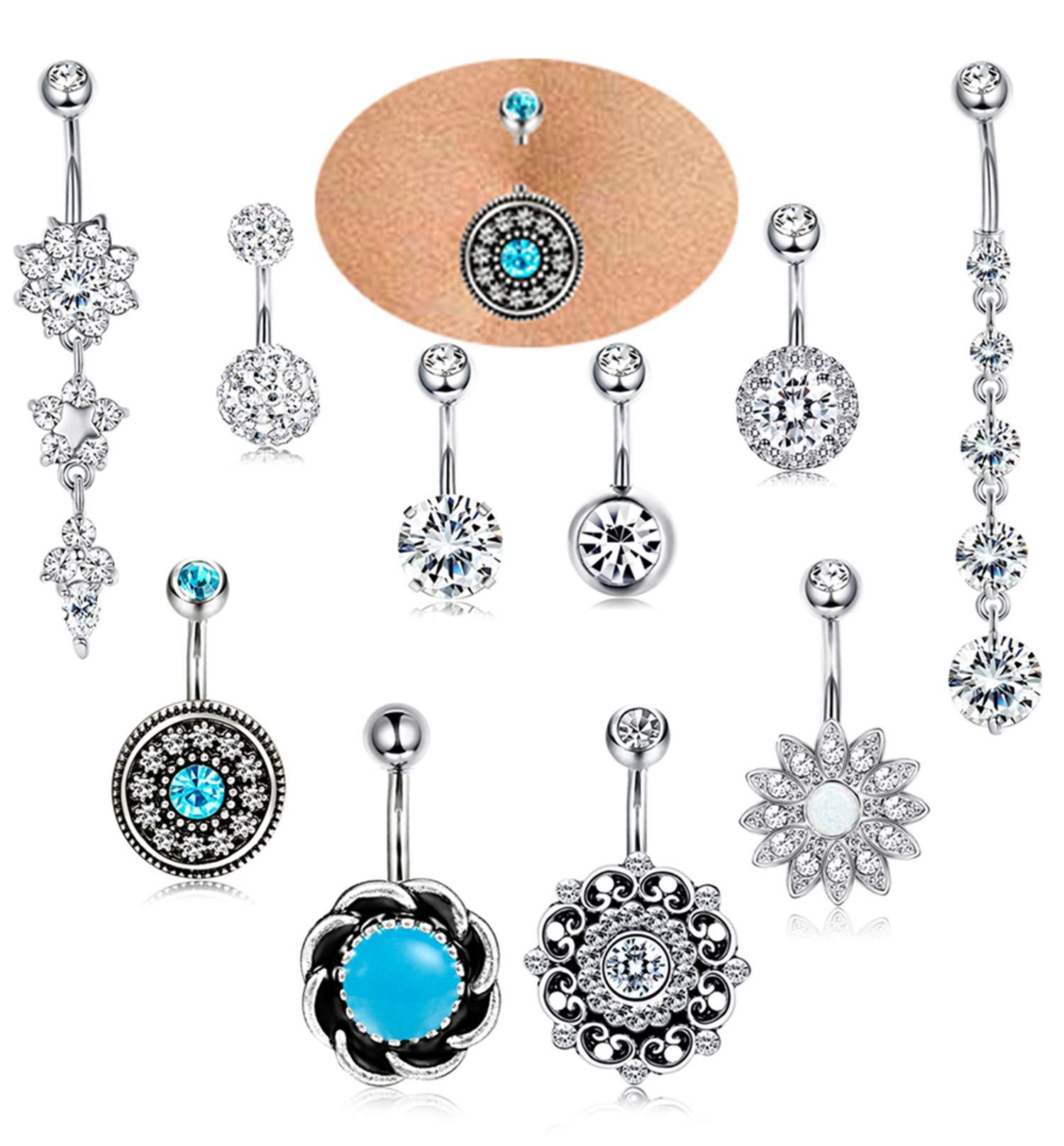 ORAZIO 10PCS 14G Stainless Steel Belly Button Rings Women Girls Navel Rings CZ Opal Barbell Body Piercing Jewelry (B:10PCS Silver Tone)